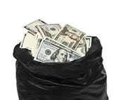 Plastic bag full of money — Stock Photo