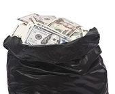 Plastic bag full of money  — Stock Photo