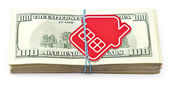Red home sign on hundred dollar bills. Real Estate business Conc — Stock Photo