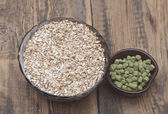Barley with pellets of hops — Stock Photo