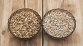 Two glasss bowl with beer ingredients barley malt — Stock Photo