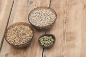Beer ingredients, hops and malt on wooden table top — ストック写真