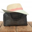 The straw hat and handbag isolate on white background — Stock Photo #50074347