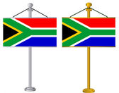 South African Flags on silver and gold flag stands illustration — Stock Photo