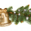 Stock Photo: Isolated Golden Christmas Bell with Green Pine