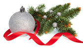 Isolated Silver Christmas ball with Red Ribbon and Green Pine — Stock Photo