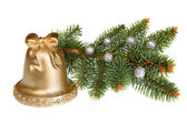 Isolated Golden Christmas Bell with Green Pine — Stock Photo