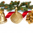Lit Golden Christmas Candels with Red Ribbon — Stock Photo