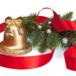 Golden Christmas Bell with Green Pine and Red Ribbon — Stock Photo