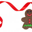 Gingerbread Man in Red Christmas Frame — Photo