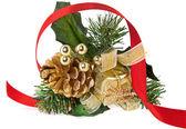 Objeto de decoração de natal dourado e fita vermelha — Foto Stock