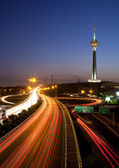 Milad Tower and Light Trails — Stock Photo