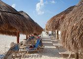 わらパラソルとビーチでの日光浴用の椅子 — ストック写真