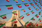 Azadi Monument and Celebration Iran Flags in Tehran — Stock Photo