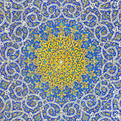 Islamic Persian Motif on Blue Tiles of a Mosque — Stock Photo
