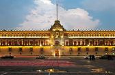 Illuminated National Palace in Zocalo of Mexico City — Stock Photo