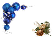 Blue Christmas Decorative Baubles and Golden Pine Cone Forming a Holiday Frame — Stock Photo
