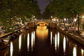 Amsterdam Triple Bridges at Night — Stock Photo