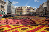 Flower Carpet in Grand Place of Brussels Against Blue Sky — Stock Photo