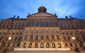 Illuminated Royal Palace of Amsterdam Against Blue Sky of Dusk — Stock Photo