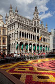Maison du Roi or King House in Grand Place of Brussels During Flower Carpet Festival — Stock Photo