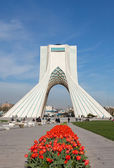 Red Tulips in Front of Azadi Monument in Tehran — Stock Photo