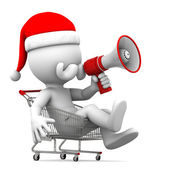 Santa Claus with megaphone in shopping cart — Stock Photo