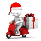 Santa Claus delivering gifts — Stock Photo