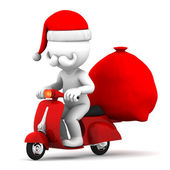Santa Claus riding a scooter — Stock Photo