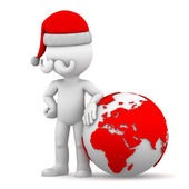 Santa with earth globe — Stock Photo