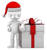 3d Santa with big present box — Stock Photo