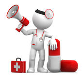 Medic with a pill and megaphone — Stock Photo