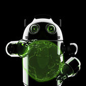 Android segurando um globo brilhante de terra — Foto Stock