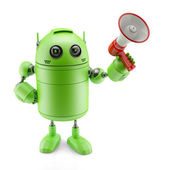 Android with a megaphone — Stock Photo