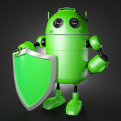 Android guard with shield — Stock Photo