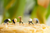 Peasants on noodle field — Stock Photo