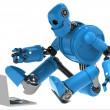 robot ile laptop — Stok fotoğraf