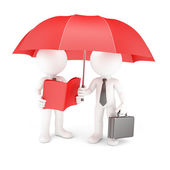 Group of business with umbrella and manual. — Stock Photo