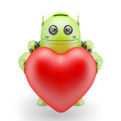 Cute robot with big red heart — Stockfoto