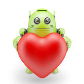 Cute robot with big red heart — Stock Photo