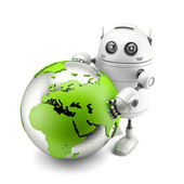 Robot with green earth globe — Foto Stock