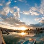 Fishing boat at sunset — Stock Photo