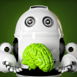 Android holding a large green brain — Stock Photo