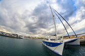 Big sailing catamaran moored — Stock Photo