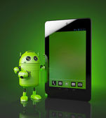 Android with tablet pc — Stock Photo