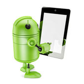 Robot Holding Touch Screen Mobile Device — Stock Photo