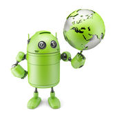 Robot inspecting a globe — Stock Photo