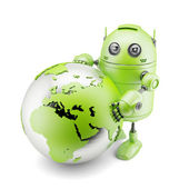 Robot holding holding earth planet — Stock Photo