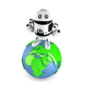 Androi Robot on top of the green earth globe. — Stock Photo