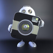 Android robot con cámara digital compacta — Foto de Stock